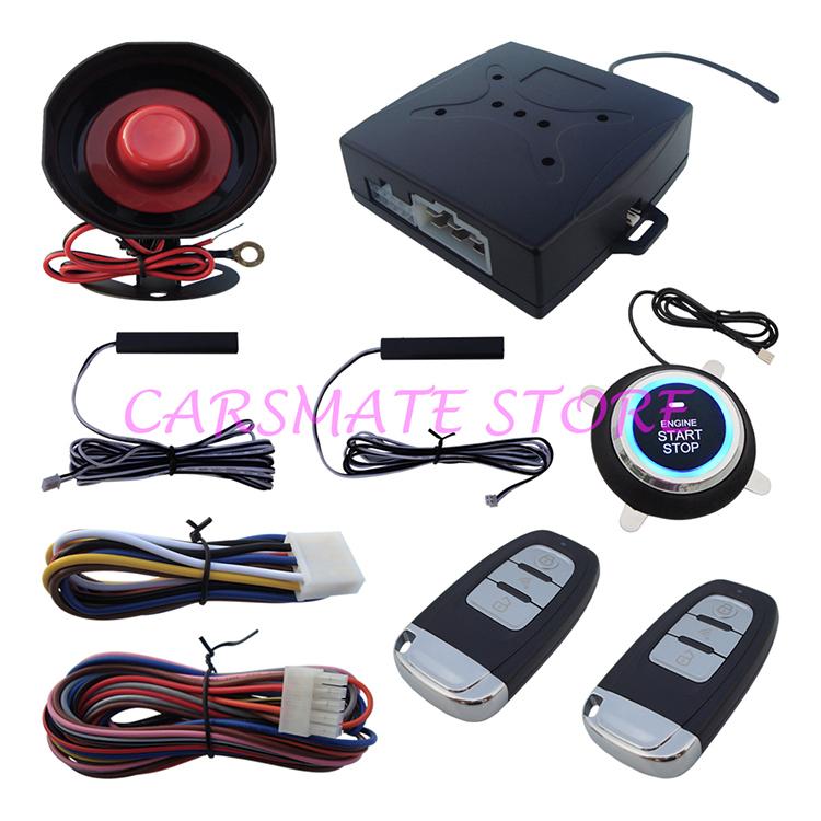 Stock In USA NEW PKE Car Alarm System W Push Button Start Car Engine & Remote Control Start Car Engine(China (Mainland))