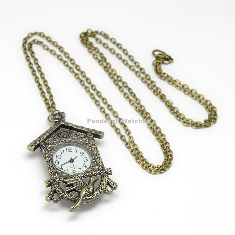 Alloy Clock Pendant Necklace Quartz Pocket Watch, with Iron Chains and Lobster Claw Clasps, Antique Bronze, 32.3; Watch Head:<br><br>Aliexpress