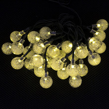 Solar Outdoor String Lights 20ft 30 LED Colorful Crystal Ball Solar Globe Fairy Lights for Garden Fence Decoration Waterproof (China (Mainland))
