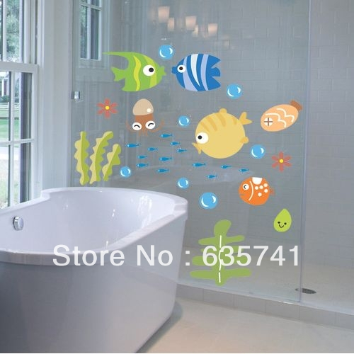 Tropical Fish Bubble Wall Sticker Kids Room Nursery Kitchen Bathroom Wall Decal Free Shipping(China (Mainland))