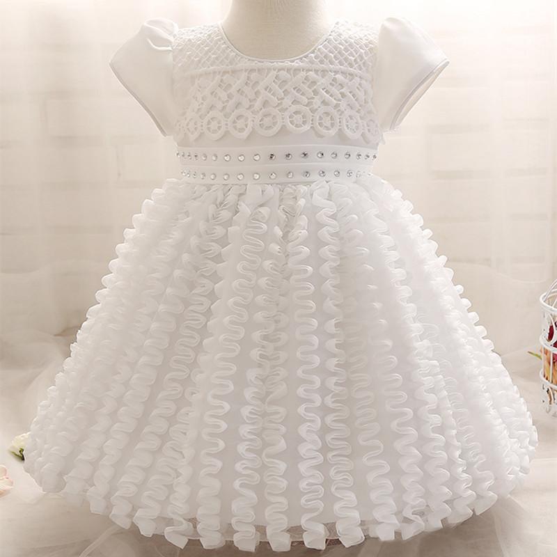 Summer baby girl 1 year birthday dress cute white bow for Cute white wedding dresses