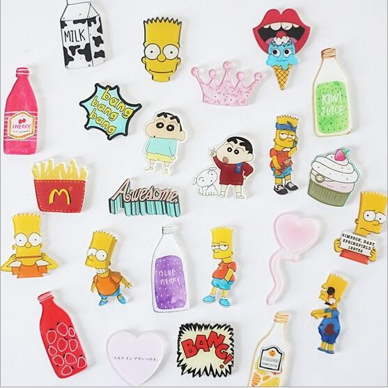 Creative cute cartoon Simpson fruit bottle refrigerator    acrylic Fridge Magnets