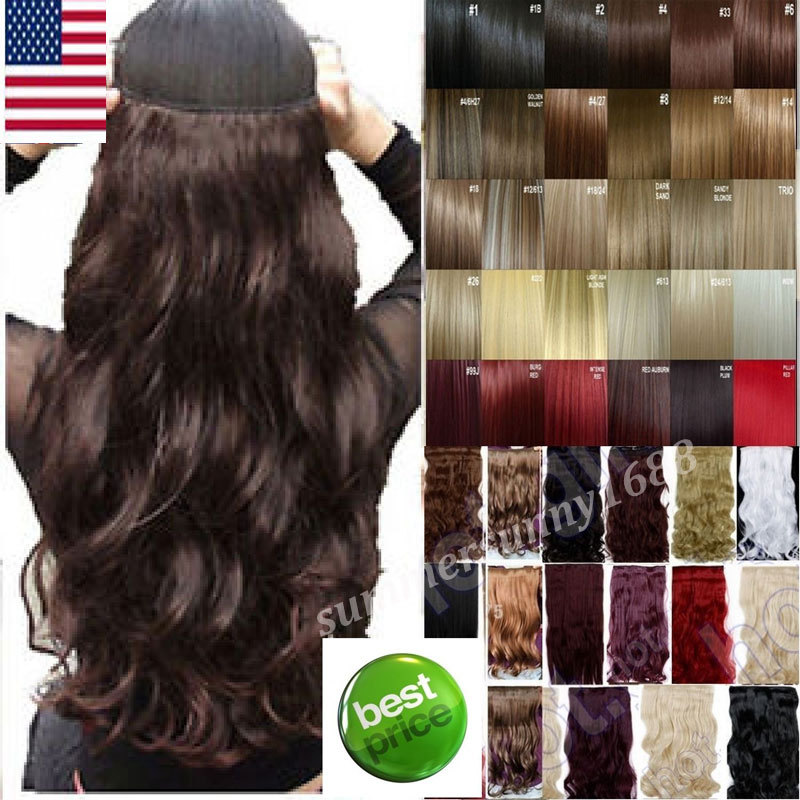 """Long Clip in Hair Extension half full head 100% real natural hair Extentions 24"""" Curly UPS USA Local Warehhouse Fast Free Ship(China (Mainland))"""