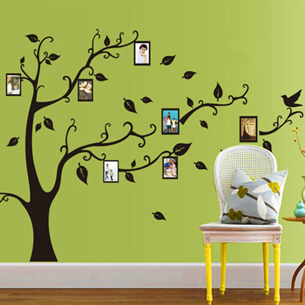1PC DIY Life Photo Picture Frame Tree With Family Vine Branches Quote Birds Removable PVC Wall Decal Sticker Wallpaper Art Decor(China (Mainland))