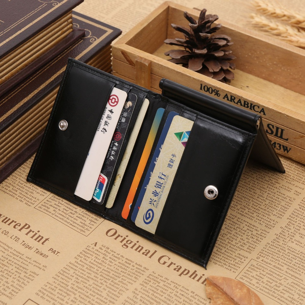 Fashion Oil Wax PU Leather Multi function Dollars 3 Folds Money Clip 2 Color On Sale(China (Mainland))