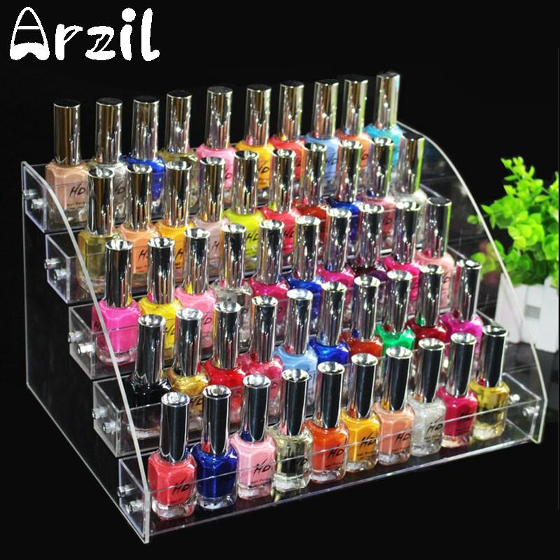 Makeup Cosmetic 5 Tiers Clear Acrylic Organizer Lipstick Jewelry Display Stand Holder Nail Polish Rack 31X22.3X17cm(China (Mainland))