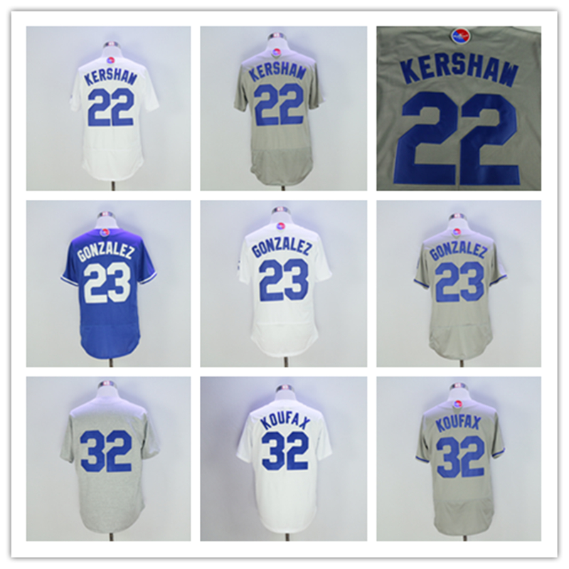 2016 Los Angeles Jersey 23 Gonzalez 22 Kershaw Jersey 32 Koufax Jerseys New Arrivals Baseball Jersey White Blue Grey(China (Mainland))