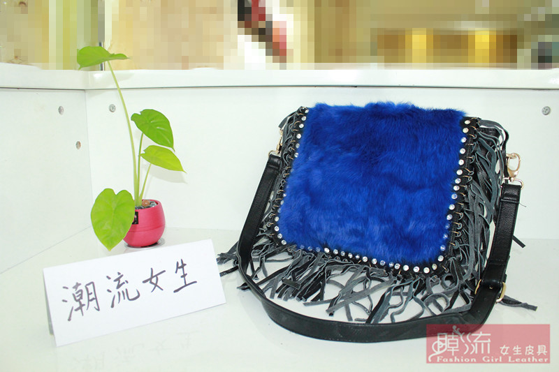 trend schoolgirl 2014 rabbit fur bags handbag shoulder bag fashion women's