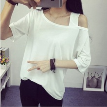 T Shirts women top 2016 new one shoulder Solid colour Cotton T-shirt(China (Mainland))