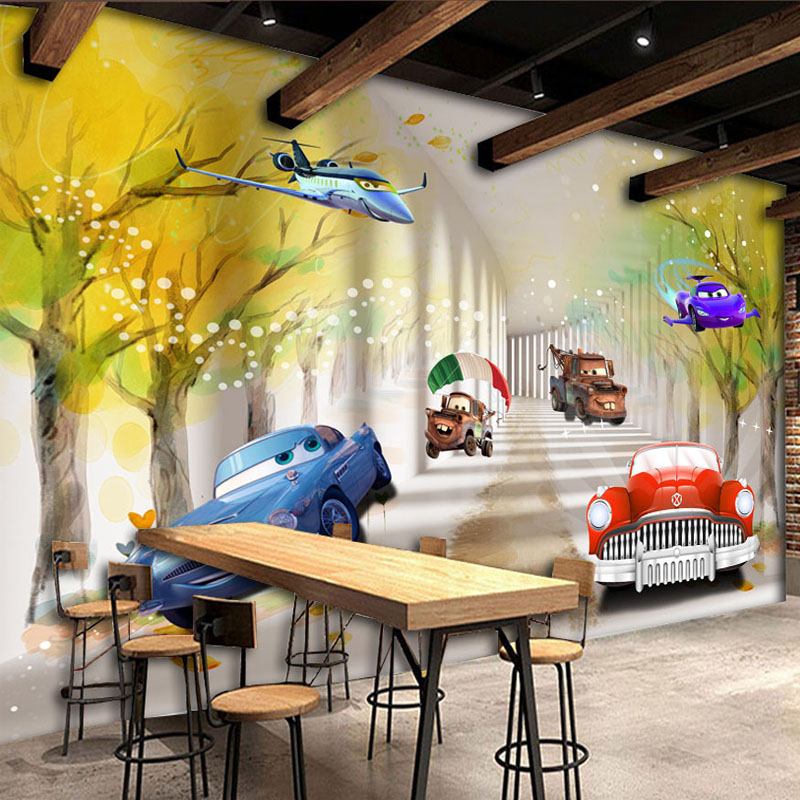 Compare prices on wood car bed online shopping buy low for Cartoon mural wallpaper