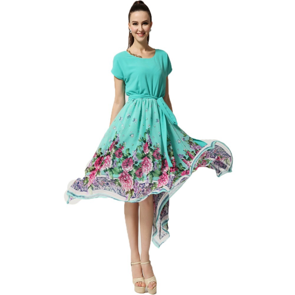 Plus Size Xxl 2013 Summer New Fashion Elegant Floral Print Casual Knee Short Hairstyle 2013