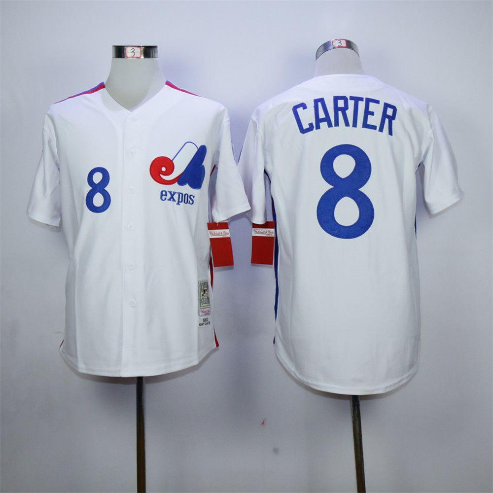 Cheap Gary Carter Jersey Montreal Expos 8# Throwback Baseball Jersey Authentic Stitched Baseball Shirt Blue White(China (Mainland))