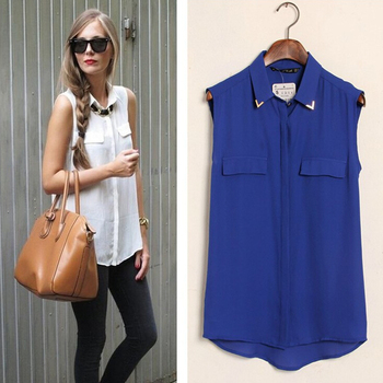 women studded collar chiffon blouse sequined sleeveless shirt solid tee casual blusas femininas tops ST358