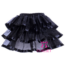 Factory Directly Sexy Micro Mini Black Organza Corset Skirt Adult Pettiskirt Women Burlesque Punk Tutu Skirts With Ribbon Trims