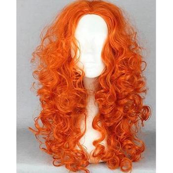 2014 Cartoon Brave Merida Princess Hair High Quality Synthetic Long Orange Curly Cosplay Wig Free Shipping