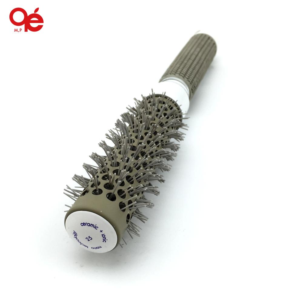 hot 25mm ceramic iron radial round comb gair dressing barber styling brush roll(China (Mainland))