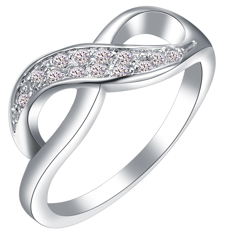 Floating Charm Plated Platinum Ring,Two Ring Phase Buckle,Inlaid With White Zircon,Suitable For Anyone To Wear In Any Place(China (Mainland))
