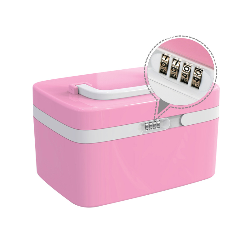 Portable Handheld Family Medicine Storage Box Emergency Medical Case W/ Coded Lock Pink(China (Mainland))