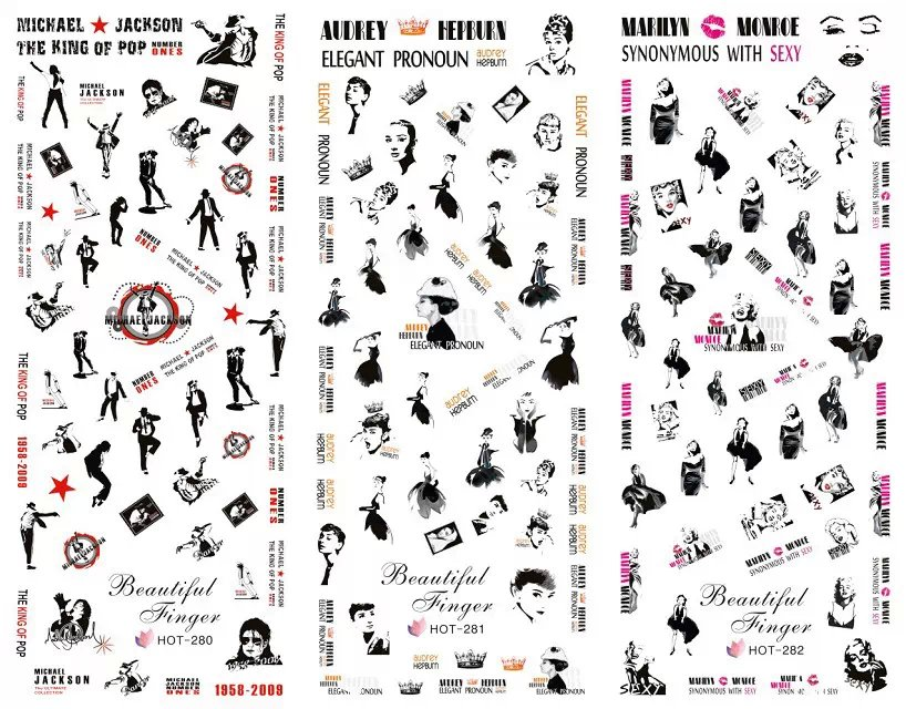 Hot Sale 3 IN 1 Water Transfer Decal Stickers Nail Art Manicure Tips Michael Jackson Hepburn 3 Sheet In One Page HOT280-282(China (Mainland))
