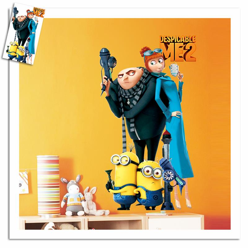 movie minions wall stickers kids room home decorations 1409. diy pvc despicable me cartoon decals children gift 3d mural art 3.5(China (Mainland))