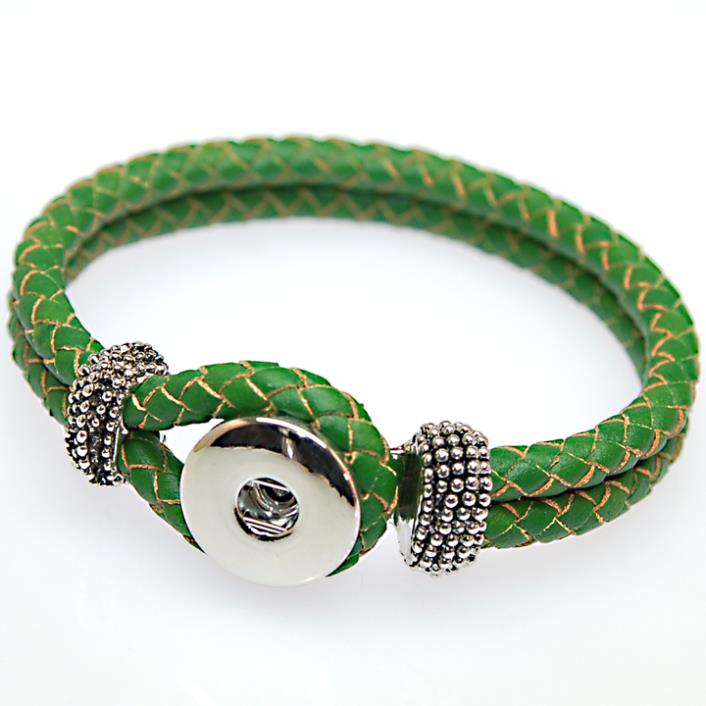 DIY interchangeable geniune braided leather wrap bracelet fits snap button  charms.High quality plated DIY