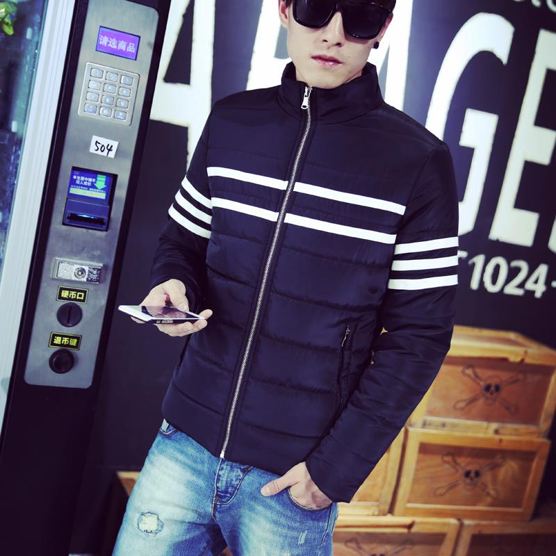 Mens Winter Clothes Thick Warm Sport Padded Jacket Fashion Striped Casual Stand Collar Windproof Parka Men