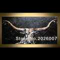 Hand Painted Black Golden White Bull Palette Knife Abstract Oil Painting On Canvas Modern Painting Decoration
