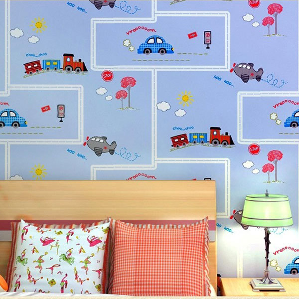 Eco friendly lovely cartoon cars wallpapers roll kids room Wallpaper for childrens room