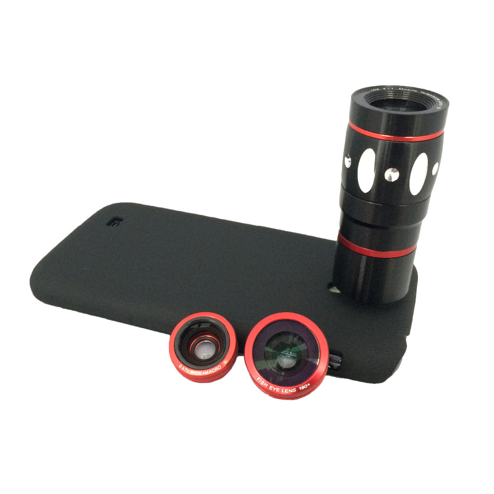 Orbmart Fish Eye Wide Angle Macro 10x Zoom Telescope Camera Lens Protective Back Cover Samsung Galaxy S4 I9500