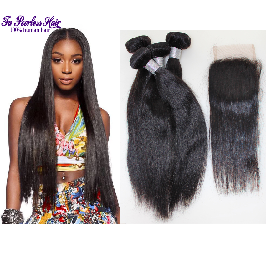 Halo Lady Hair Brazilian Straight Hair With Closure 7A Brazilian Virgin Hair Straight 4 Bundles With Silk Closure 3 Part Closure<br>