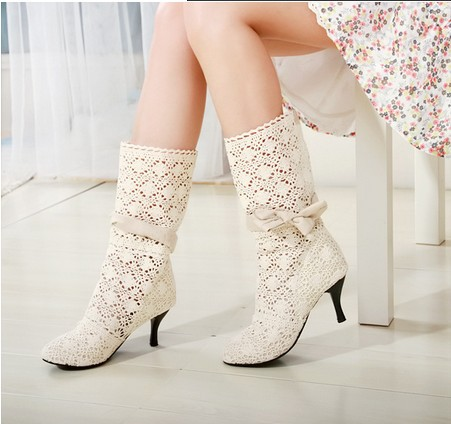 The new high-heeled shoes boots breathable mesh cotton hook flower wholesale large size shoes