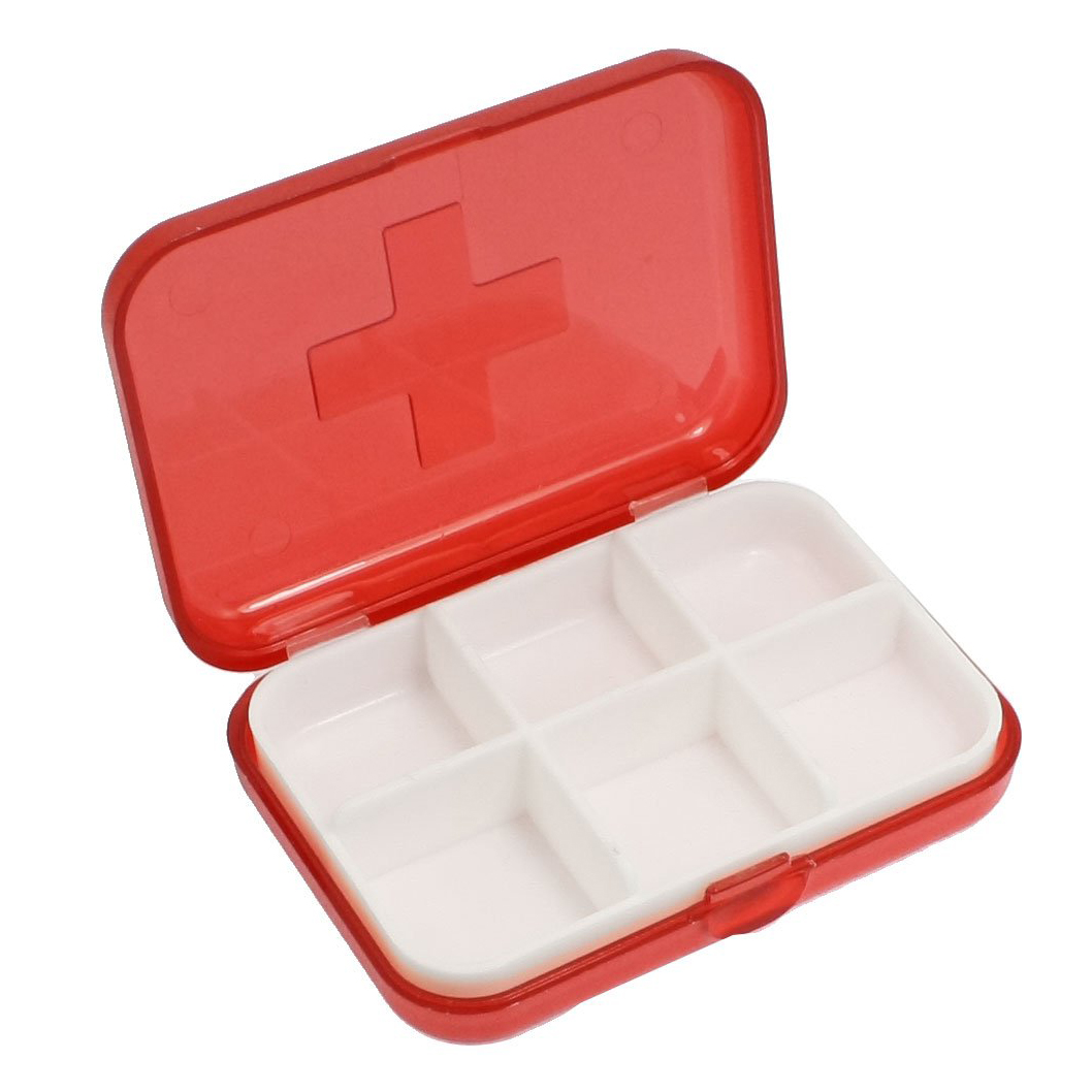 LCLL Cross Marked 6 Rooms Medicine Pill Storage Case Box Clear Red(China (Mainland))