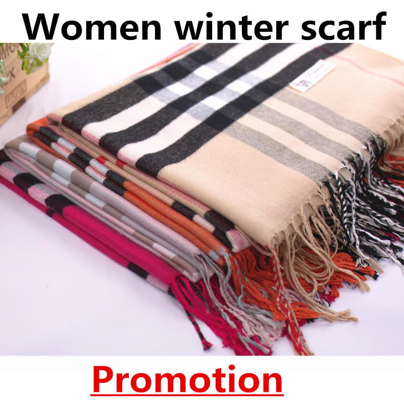 2016 new women scarf fashion brand plaid cashmere winter scarves female classcial shawls lady long wrap soft student scarf(China (Mainland))