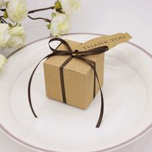 50 Pcs Kraft Paper Square Cookie Bag Cake Gift Box Birthday Party Wedding Christmas supplies