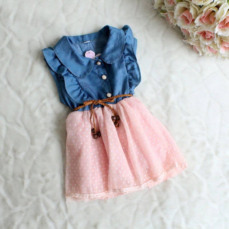 Baby girls dress New fashion Children clothing brand cotton denim dresses kids summer girl sleeveless princess HA005 - Qocean store