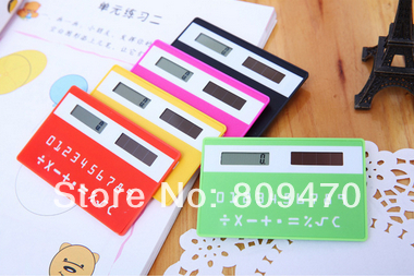 Free Shipping!Wholesale Ultrathin Card Portable Calculator Solar Calculator New Exotic Promotion Products Mixed Color(China (Mainland))