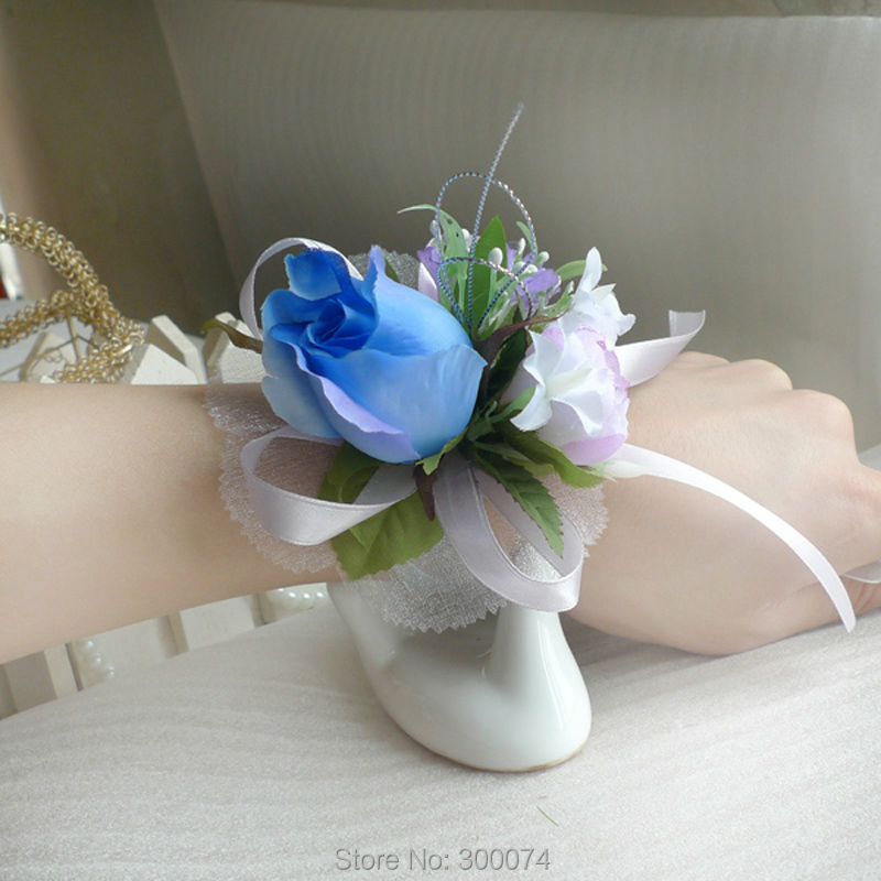 Wedding or Prom Wrist Flower Corsage With Long Wrist Band Silk Rose Flowers Bridal or Bridesmaid Decoration Supplies MLW(China (Mainland))