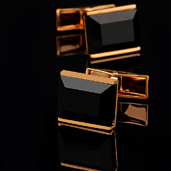 X274 Copper Jewelry High grade Gold Plated Black Glass Men Exquisite cufflinks Christmas wedding shirt Button Cuff Links(China (Mainland))