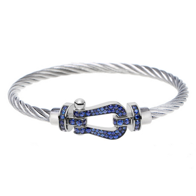 Здесь можно купить  Fashion Full Blue Zircon Setting Force Buckle Bracelet 925 Sterling Silver Bracelet Valentine