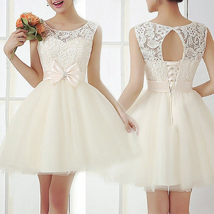 Cute women summer style sleeveless mini dress wedding for Cute white wedding dresses