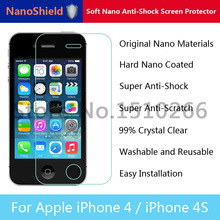 NanoShield Soft Nano Anti-Shock Anti-Scratch Screen Protector Mobile Phone Protective Film For iPhone 4 4S With Retail Package