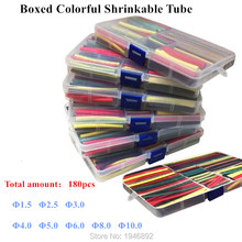 180Pcs 1.5MM 2.5MM 3MM 4MM 5MM 6MM 8MM 10MM Assortment Ratio 2:1 Polyolefin Heat Shrink Tube Tubing Sleeving Wrap Wire Cable Kit(China (Mainland))