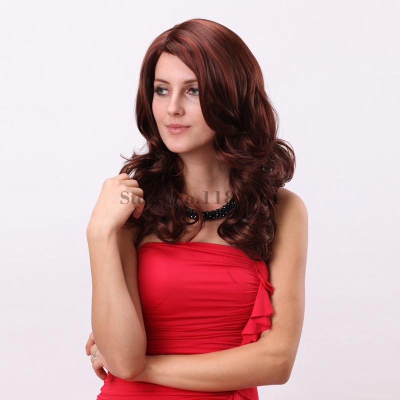 U Part 18inch Top Quality Japanese Fiber Medium Long Wavy Auburn Wig For White Women Pelucas Pelo Natural Free Shipping