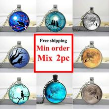 Wholesale pendant glass cabochon Blue Moon and cat glass necklace Galaxy Pendant round glass necklace(China (Mainland))