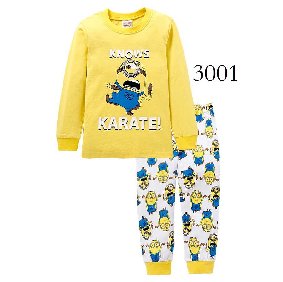 knitted cotton 100 toddler kid pajamas set with cute cartoon pattern Minions