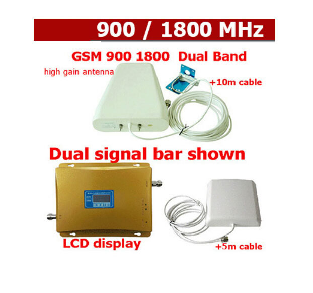 LCD Display DCS 1800MHz + GSM 900Mhz Dual Band Mobile Phone Signal Booster , Cell Phone Signal Repeater + Antenna + Cable(China (Mainland))