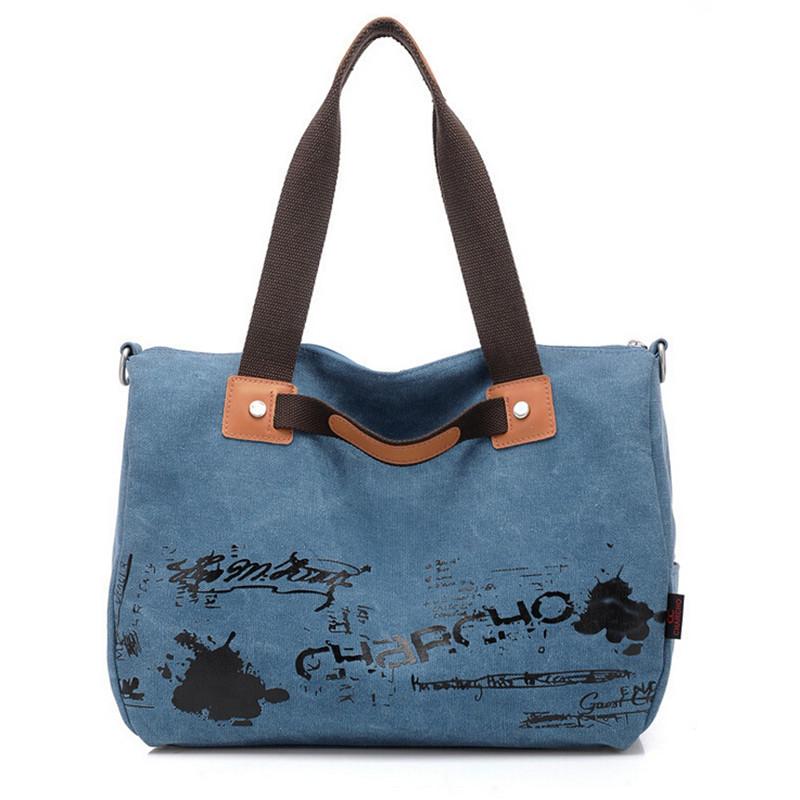 Large Capacity Graffiti Vintage Design Fashion Canvas Leisure Tote Messenger Crossbody Bags Ladies Shoulder Handbags Women's