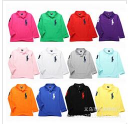 2-12Y Boys Clothing 2016 Kids T-shirt Classic Children Brand T shirts Cotton Tees Solid Color Boys Girls Tops Polos Shirt(China (Mainland))