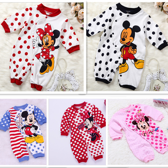 Baby Minnie Cotton Rompers Suit Newborn Bebe Boys Girls Long Sleeve Cartoon Children Toddler Pajamas Kids