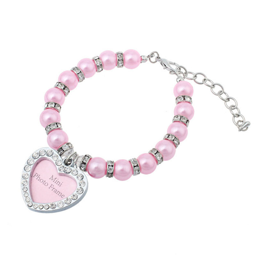Newly Design Nice Pet Dog Pearl Necklace With Rhinestone Heart Pendant photo frame For Pets Grooming July21(China (Mainland))